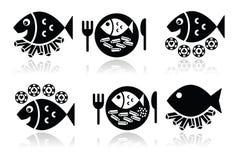 Iconos de los pescado frito con patatas fritas fijados Imágenes de archivo libres de regalías