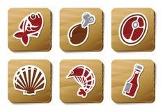 Iconos de los pescados, de los mariscos y de la carne | Serie de la cartulina Imágenes de archivo libres de regalías