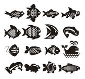 Iconos de los pescados fijados Fotografía de archivo