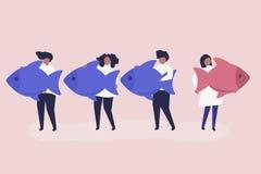 Iconos de los pescados de la gente que llevan en concepto de la dirección stock de ilustración