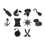 Iconos de los piratas fijados Imágenes de archivo libres de regalías