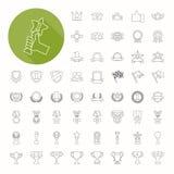 Iconos de los premios y de los premios, diseño fino del icono Fotos de archivo