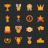 Iconos de los premios y de los premios, diseño plano Fotos de archivo libres de regalías