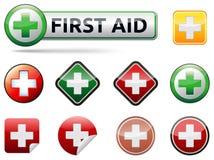 Iconos de los primeros auxilios Imagenes de archivo
