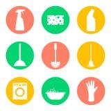 Iconos de los productos de limpieza del vector Esponja y el lavarse Imágenes de archivo libres de regalías
