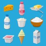 Iconos de los productos lácteos libre illustration