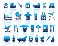 Iconos de los productos para los recién nacidos ilustración del vector