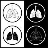 Iconos de los pulmones del vector Imagen de archivo
