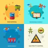 Iconos de los recursos energéticos fijados Fotografía de archivo