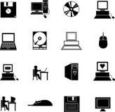 Iconos de los símbolos de la tecnología del Internet del ordenador fijados Foto de archivo libre de regalías