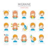 Iconos de los síntomas de la jaqueca fijados Imagen de archivo libre de regalías