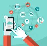 Iconos de los servicios de datos de la nube stock de ilustración