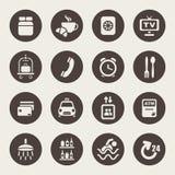Iconos de los servicios de hotel ilustración del vector