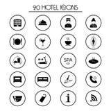 20 iconos de los servicios de hotel Aislado Vector Foto de archivo
