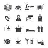 Iconos de los servicios de hotel fijados Fotografía de archivo libre de regalías