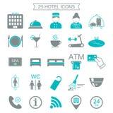 25 iconos de los servicios de hotel Silueta Bloque del color Aislado Foto de archivo libre de regalías