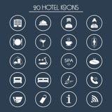 20 iconos de los servicios de hotel Silueta Vector Fotografía de archivo