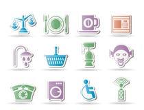 Iconos de los servicios del borde de la carretera, del hotel y del motel Foto de archivo