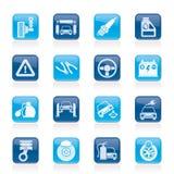 Iconos de los servicios del coche y del camino Imagen de archivo