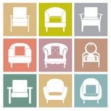 Iconos de los sofás fijados en fondo cuadrado Fotos de archivo libres de regalías