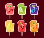 Iconos de los sorbetes de la fruta Foto de archivo