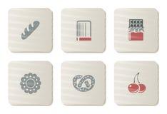 Iconos de los Sweeties y de la panadería | Serie de la cartulina Fotografía de archivo libre de regalías