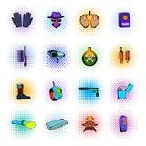 Iconos de los tebeos del espía stock de ilustración