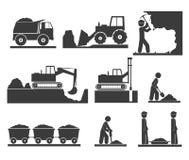 Iconos de los terraplénes de la construcción que minan y que extraen stock de ilustración