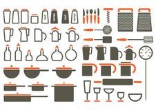 Iconos de los utensilios de cocina Foto de archivo libre de regalías