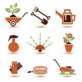 Iconos de los utensilios de jardinería fijados Foto de archivo
