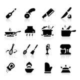 Iconos de los utensilios de la cocina Imagen de archivo libre de regalías