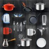 Iconos de los utensilios de la cocina Fotografía de archivo libre de regalías