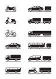 Iconos de los vehículos de camino Imágenes de archivo libres de regalías