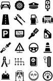 Iconos de los vehículos, del tráfico y de mecánico de motor Imagen de archivo