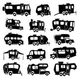 Iconos de los vehículos recreativos Imagenes de archivo