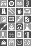 Iconos de los vehículos, del tráfico y de mecánico de motor Foto de archivo libre de regalías