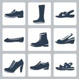 Iconos de los zapatos del vector fijados Fotografía de archivo libre de regalías