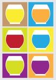 Iconos de los zumos de fruta fresca en la estación de verano Imágenes de archivo libres de regalías