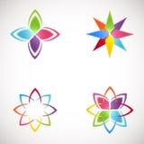 Iconos de Lotus Logotype fijados Logotipos brillantes de la flor de los colores logotipo para el salón de belleza, clínica de sal Imagen de archivo libre de regalías