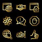 Iconos de lujo del Web de la comunicación del Internet del oro Foto de archivo libre de regalías
