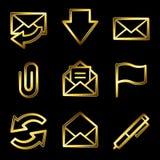 Iconos de lujo del Web del email del oro