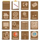Iconos de madera Imagenes de archivo
