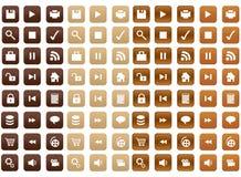 Iconos de madera stock de ilustración