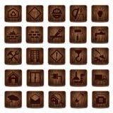 Iconos de madera Imagen de archivo libre de regalías