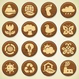 Iconos de madera del ambiente fijados libre illustration
