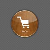 Iconos de madera del uso de la tienda Foto de archivo libre de regalías