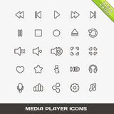 Iconos de Media Player del esquema del vector ilustración del vector