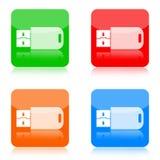 Iconos de memoria USB Fotos de archivo libres de regalías