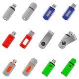 Iconos de memoria USB fijados Imagen de archivo libre de regalías