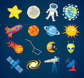 Iconos de moda de la astronomía Personaje de dibujos animados divertido ilustración del vector